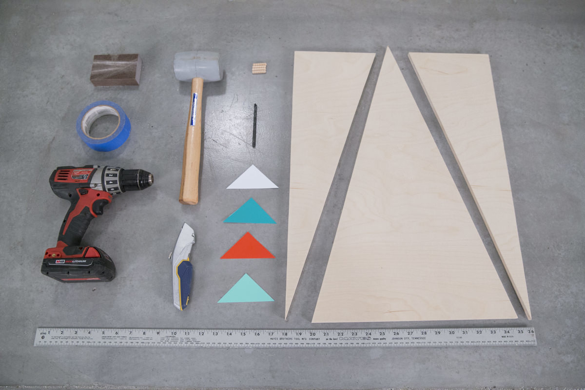geometric christmas tree materials