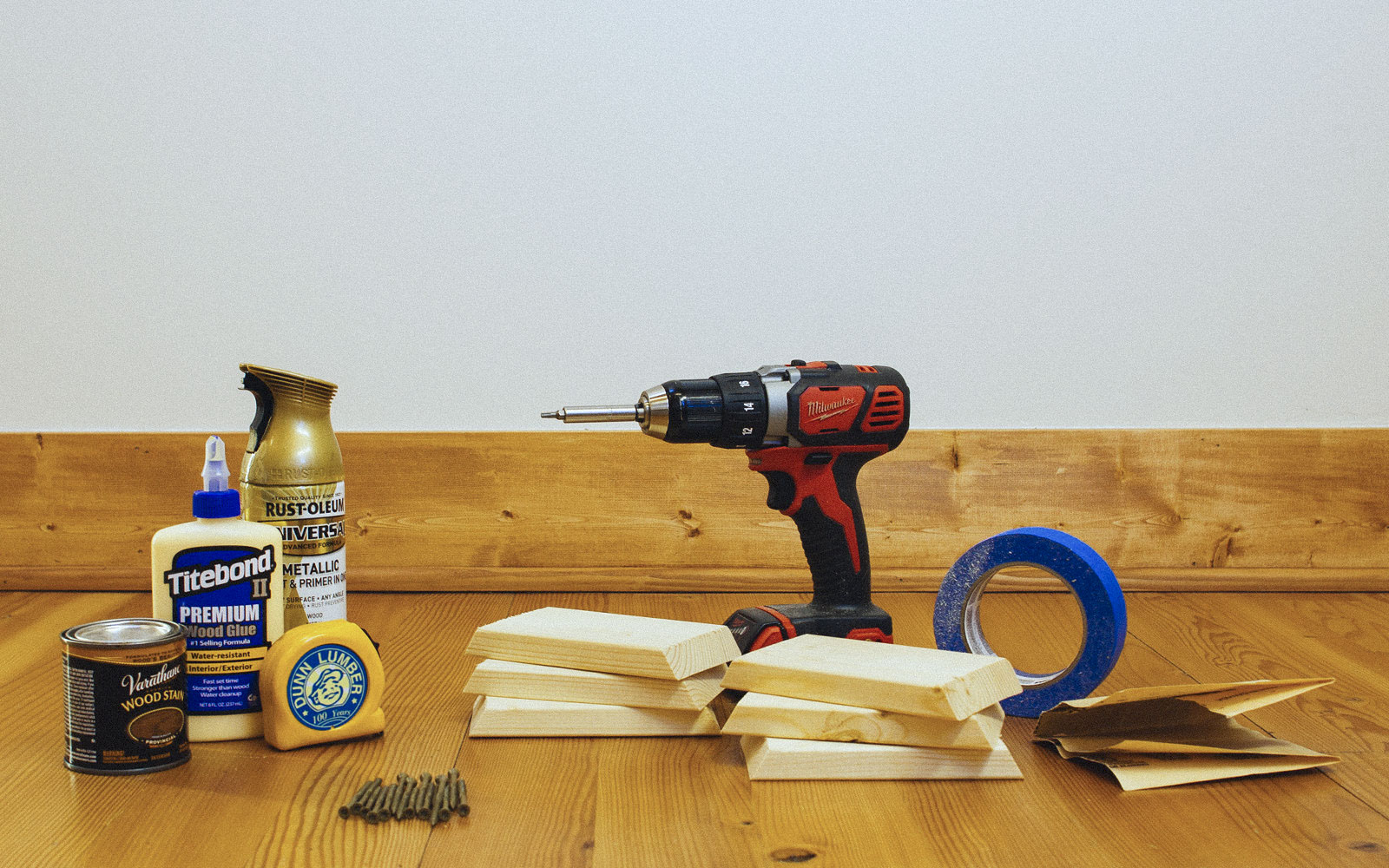 tools and materials for hexagon shelves