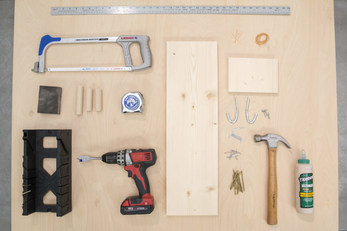 materials for a storage pegboard
