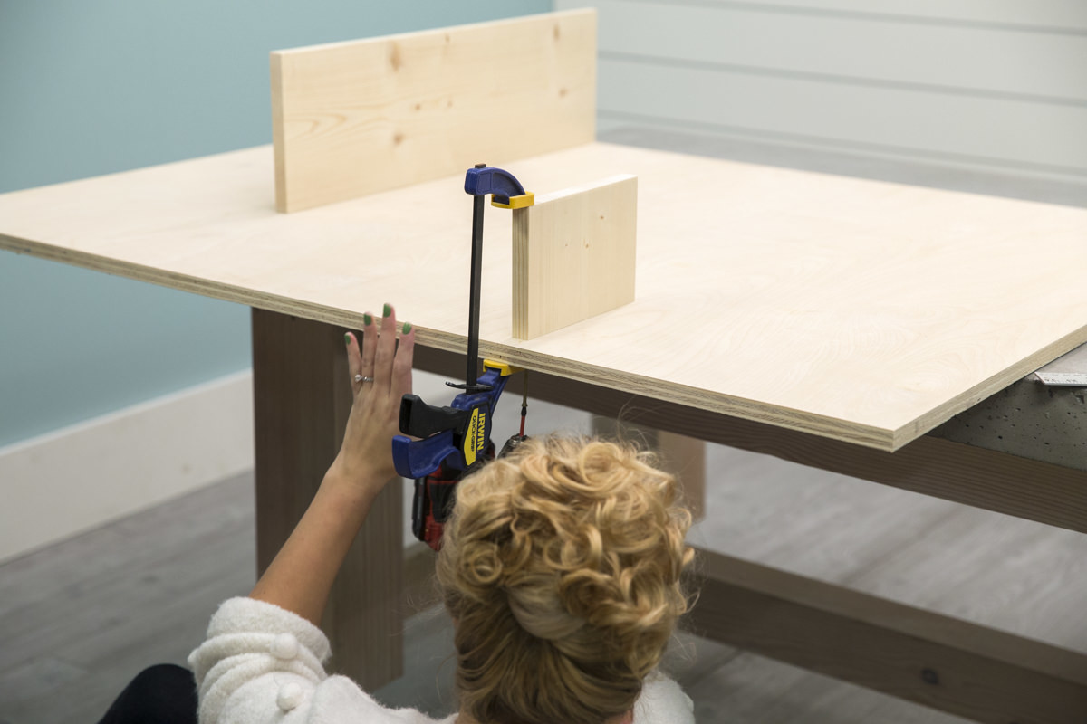 attaching shelf on storage pegboard