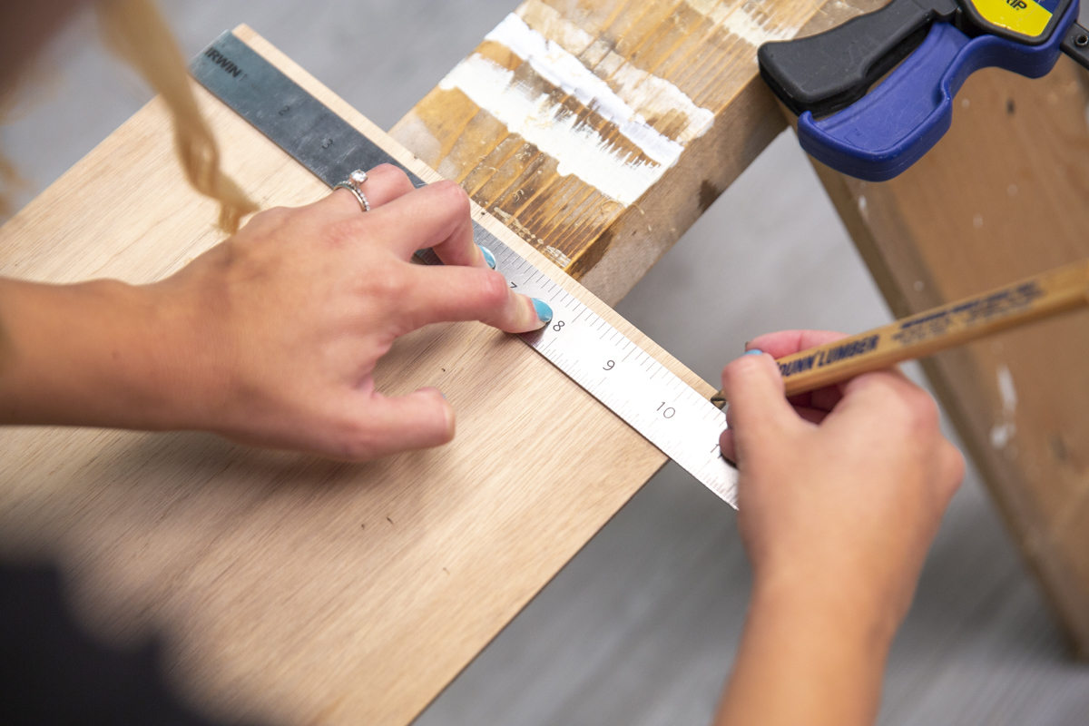 measuring wood for pie box lid