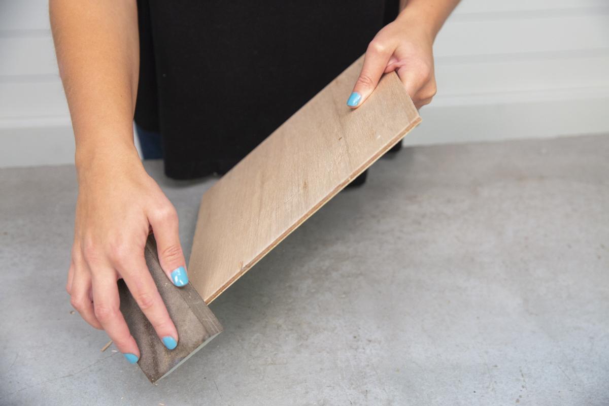 sanding sponge on wood