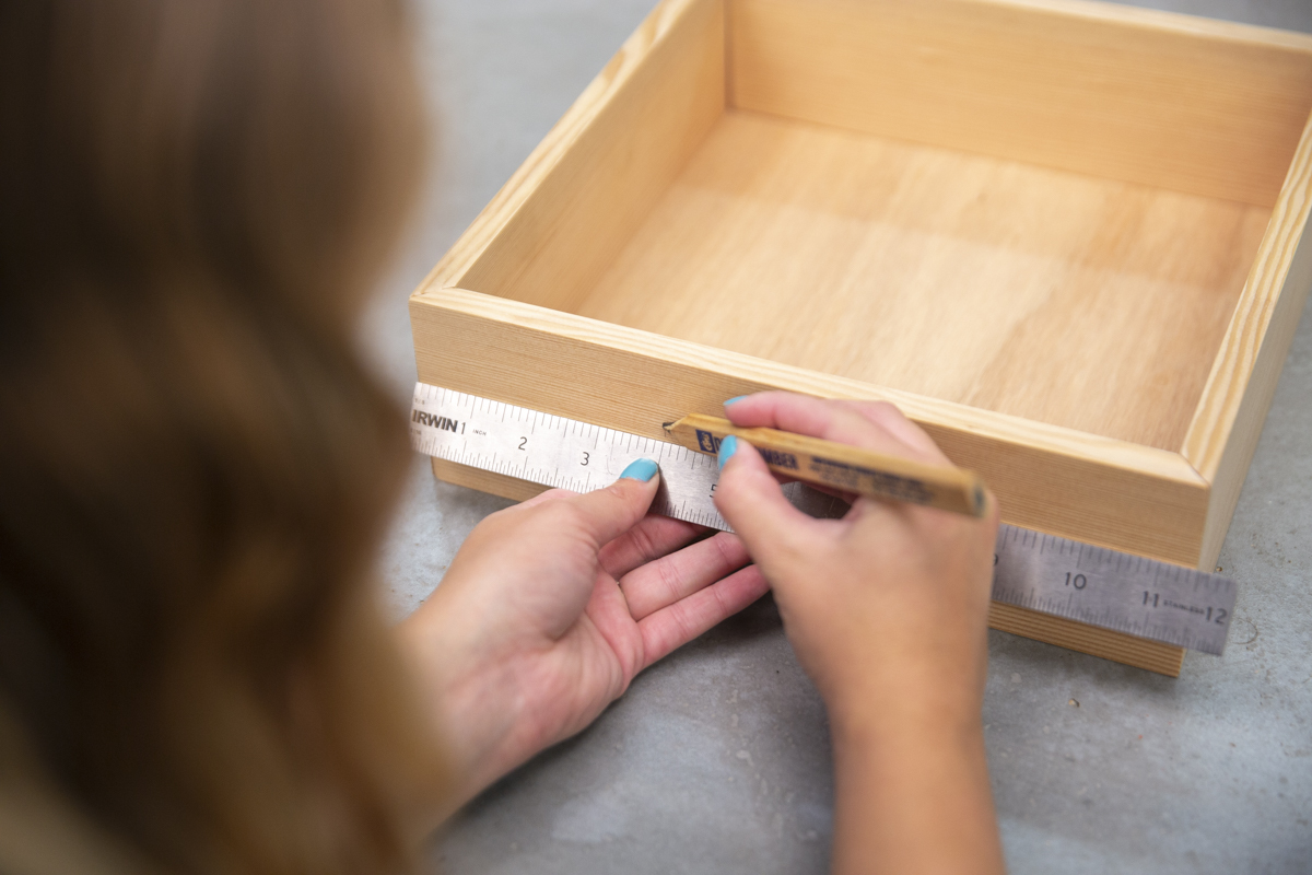 measuring for handles on wood box