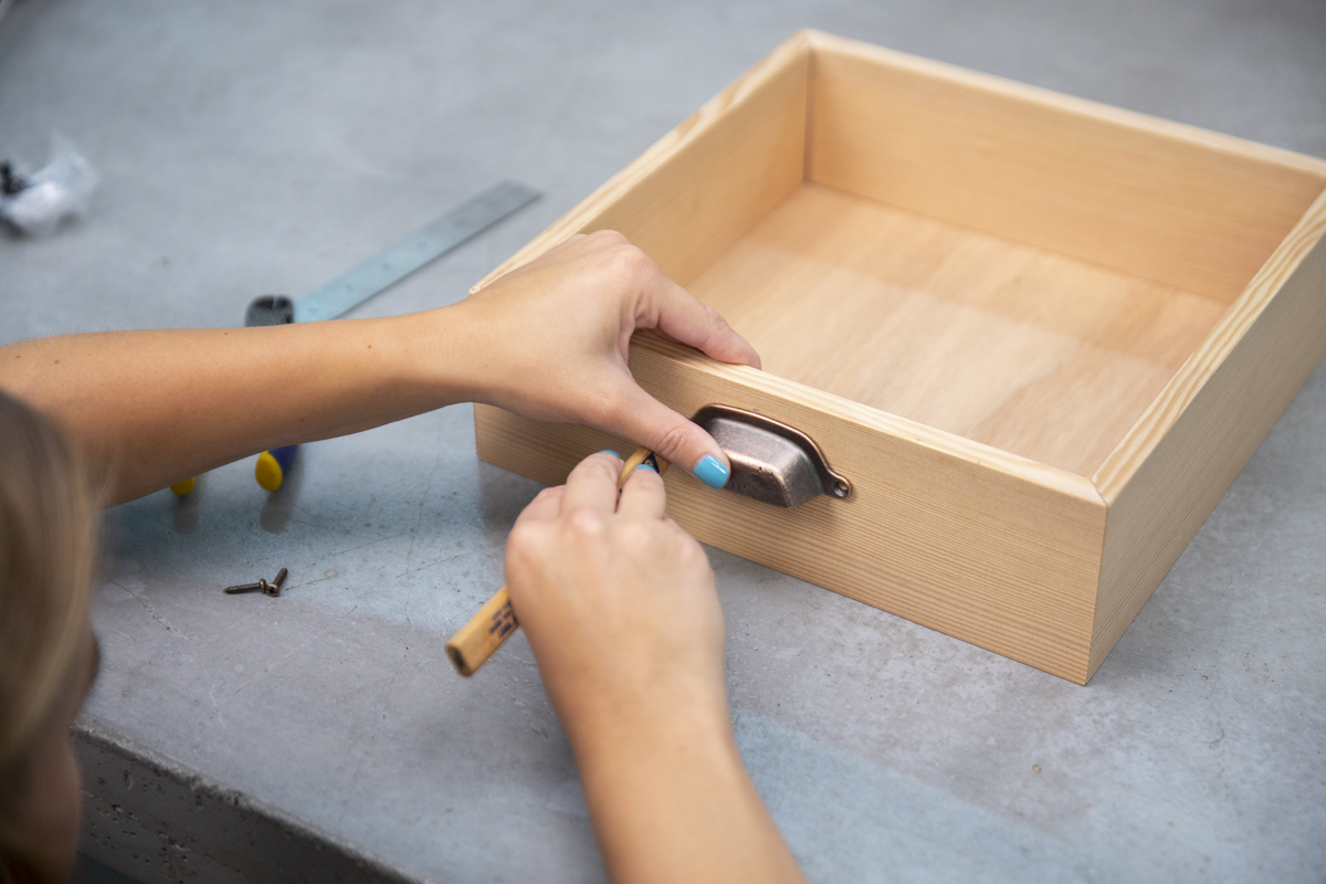 installing handles on wood box