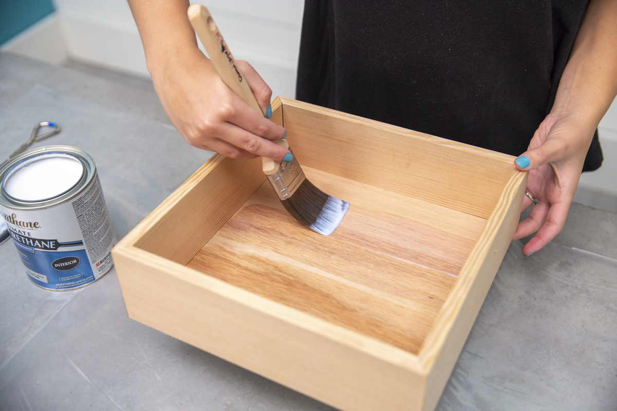 staining pie box with polyurethane