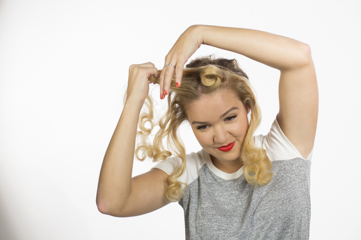 Dunn DIY How to Make Pin Curls Like Rosie the Riveter Seattle WA 16
