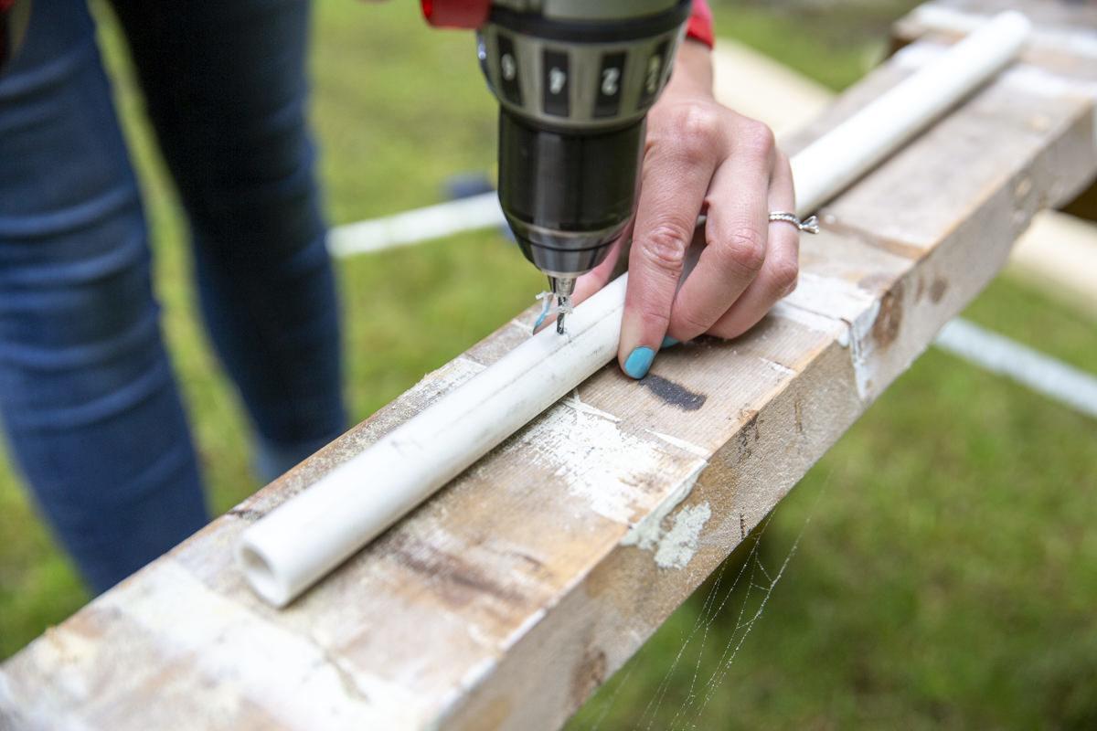 drilling pvc pipe for slip and slide