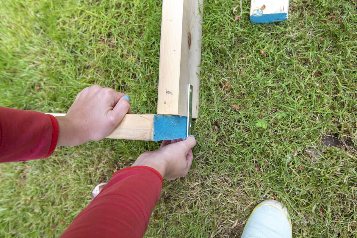 corner of diy slip and slide frame