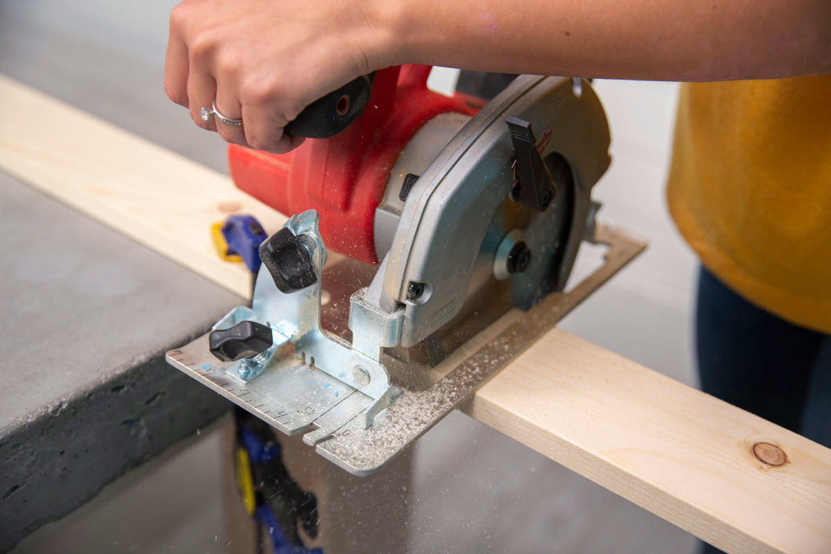 circular saw on wood for spice rack