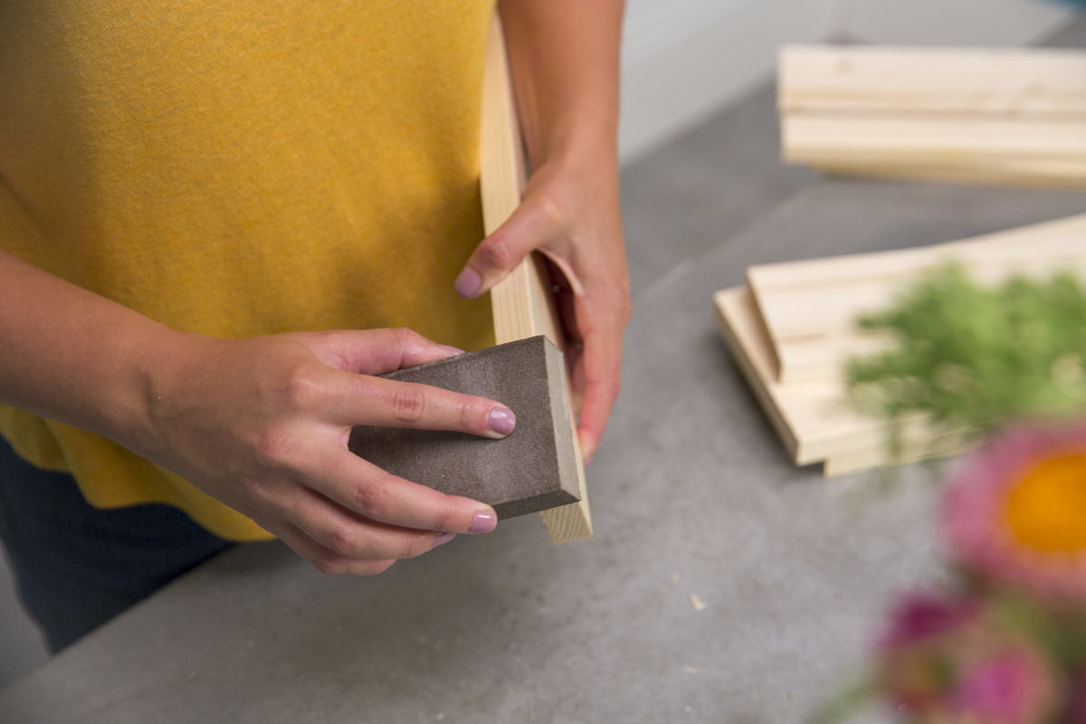sanding wood for diy spice rack