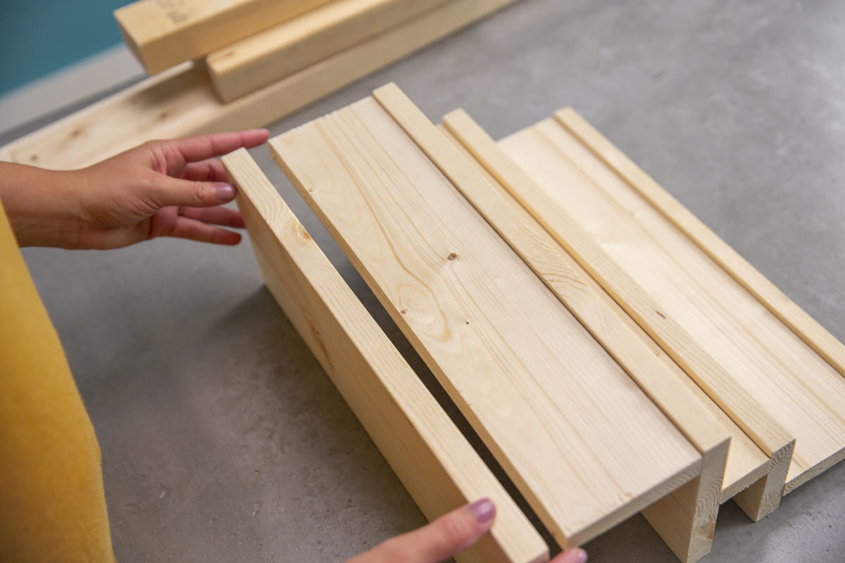 putting wood pieces together for rack