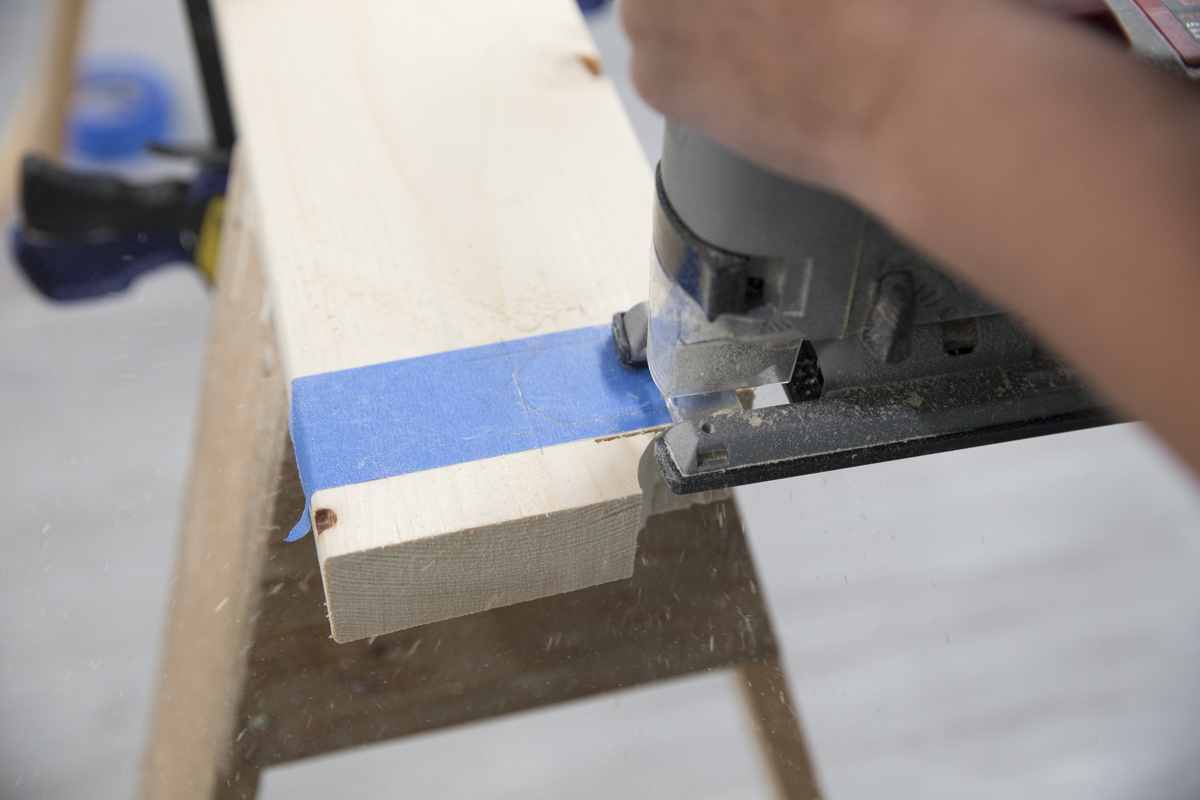 cutting wooden block