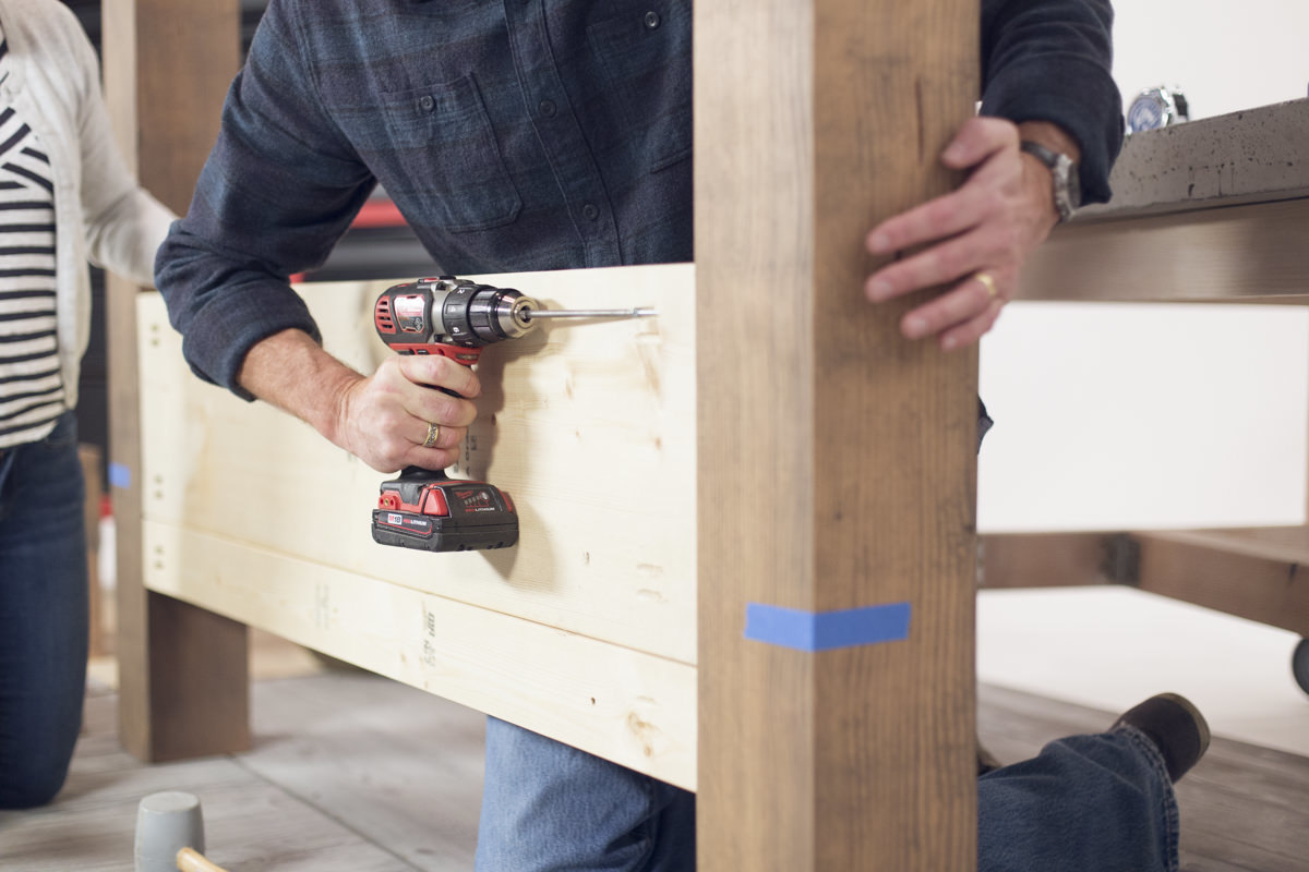 attaching bed frame with drill