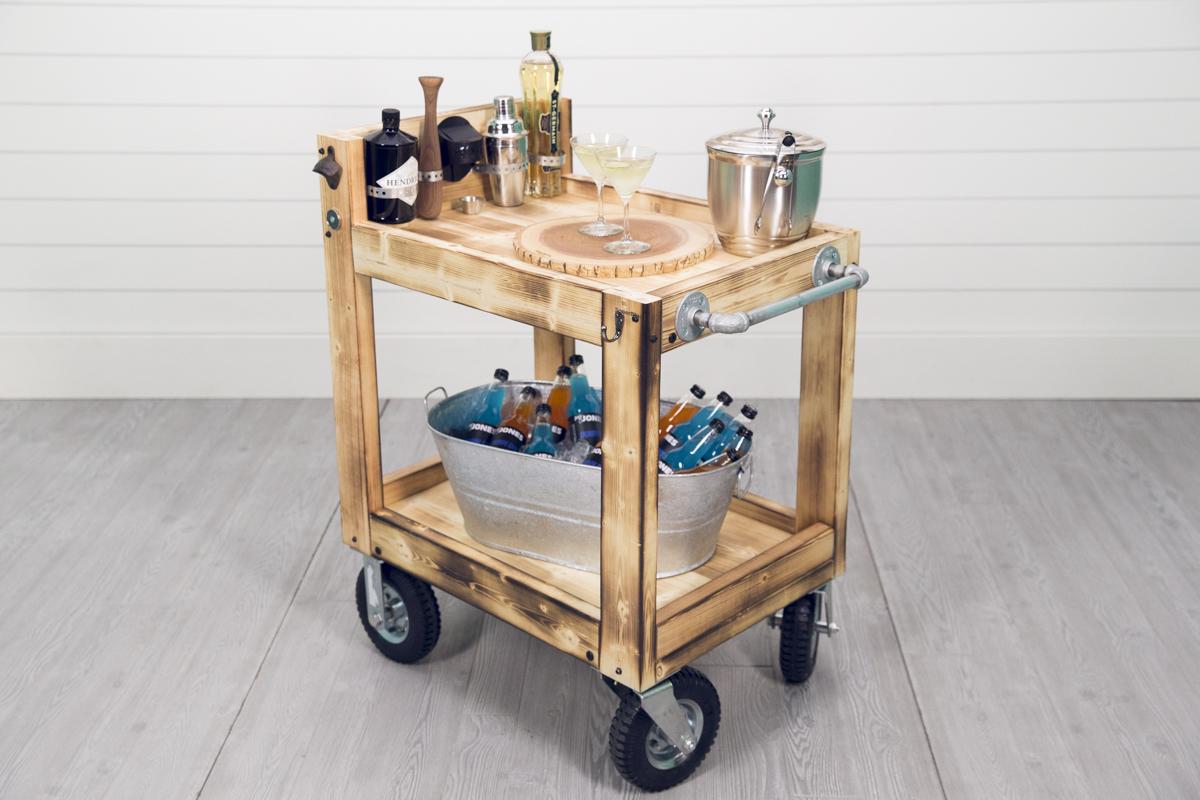 drinks on beverage cart