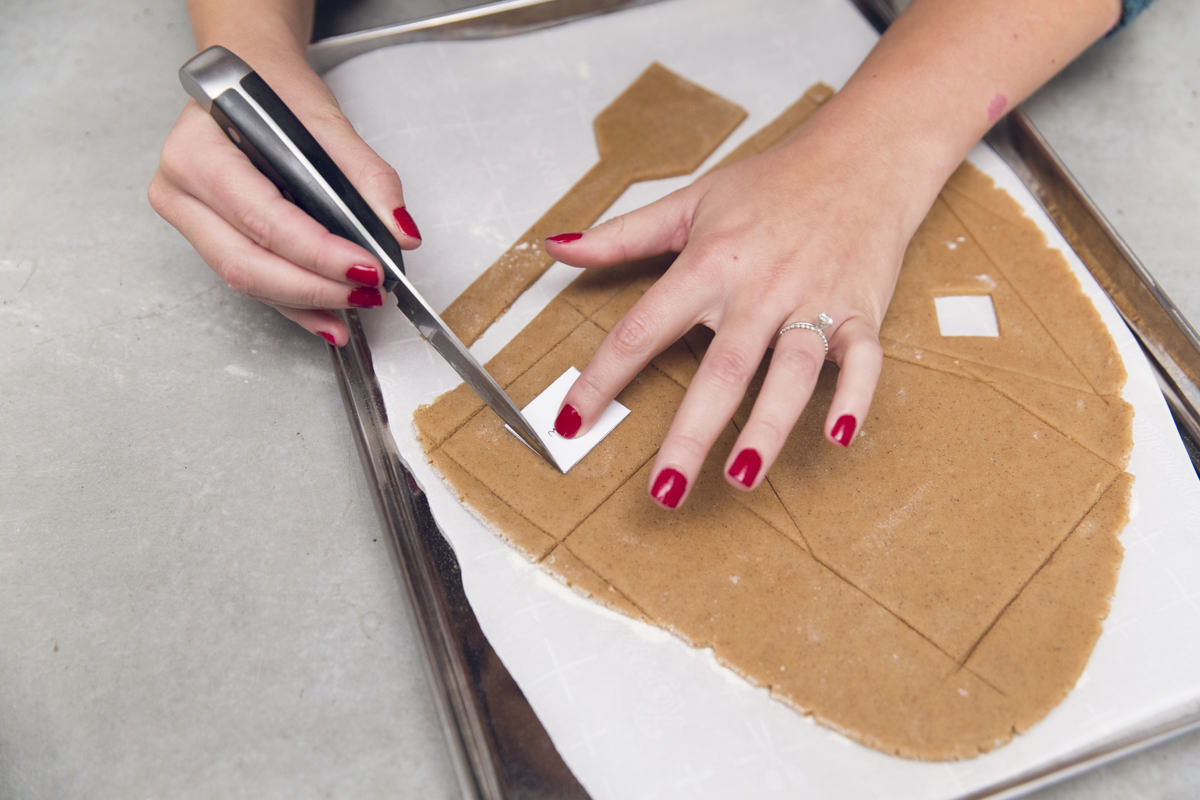 cutting gingerbread house pieces