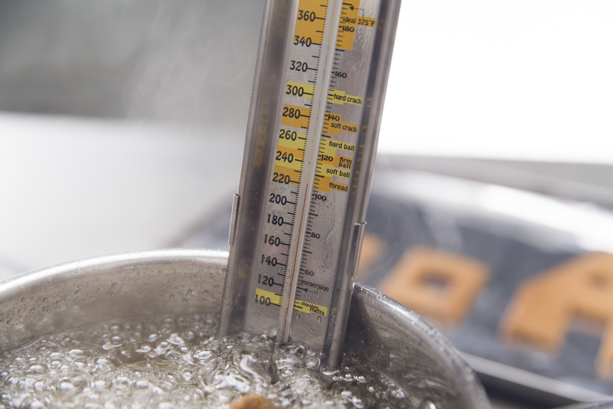 thermometer in boiling water