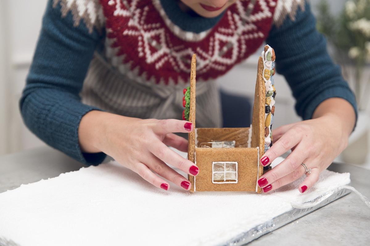 assembling gingerbread house