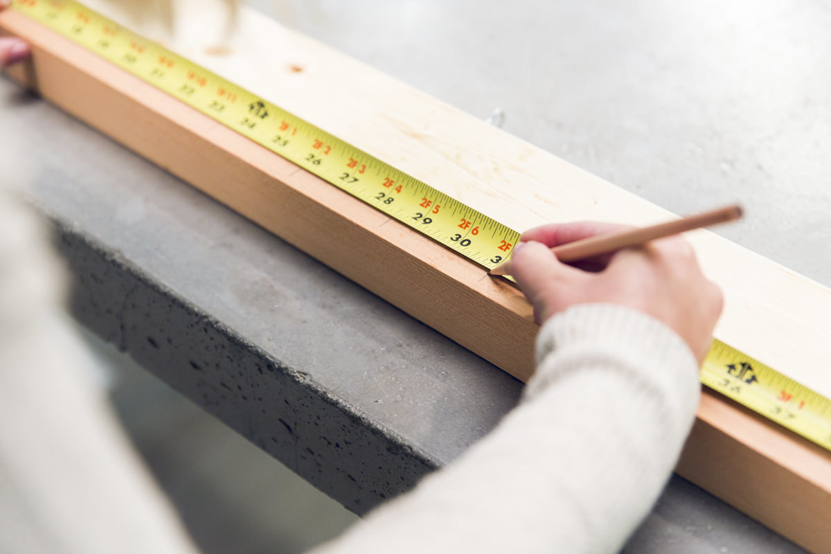 measuring wood board