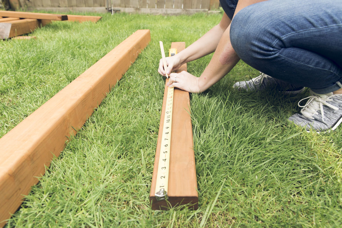 measuring wood boards for hammock stand