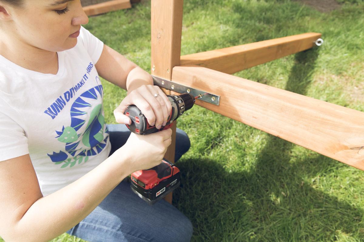 drilling diy hammock crossbeam