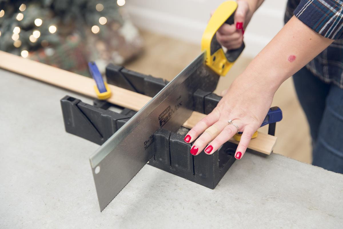 cutting wood for advent calendar