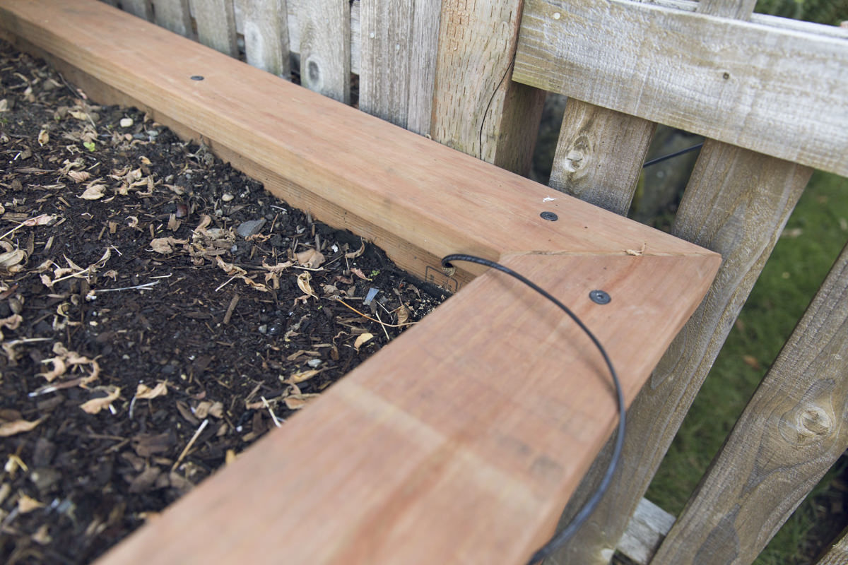 wire in raised bed planter