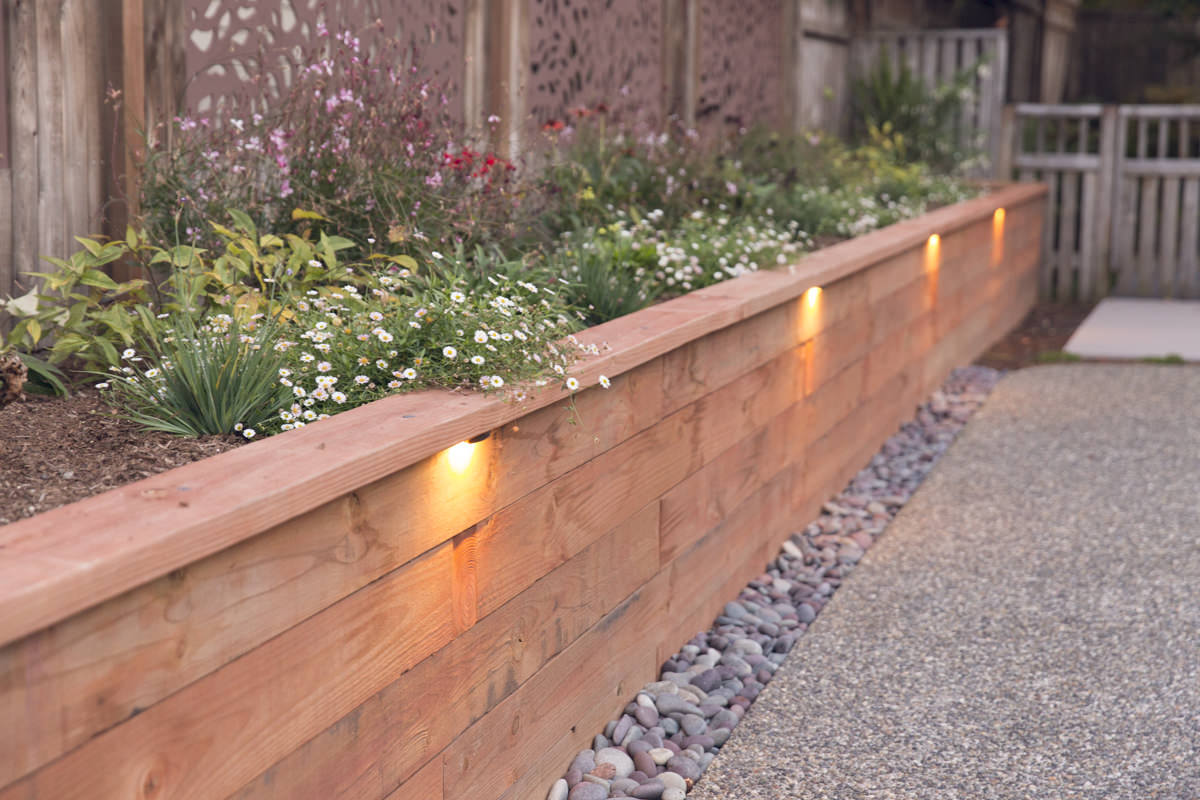 raised planter with lights