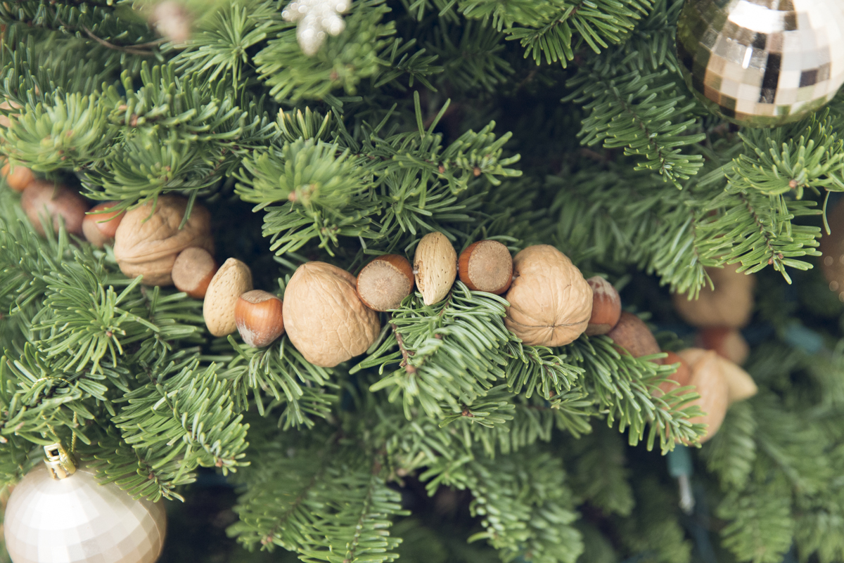 christmas tree garland with nuts