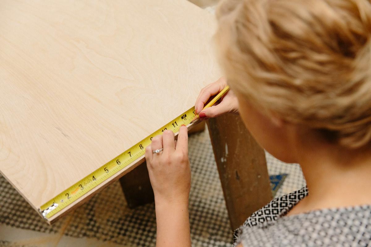 Cut plywood for DIY litter box