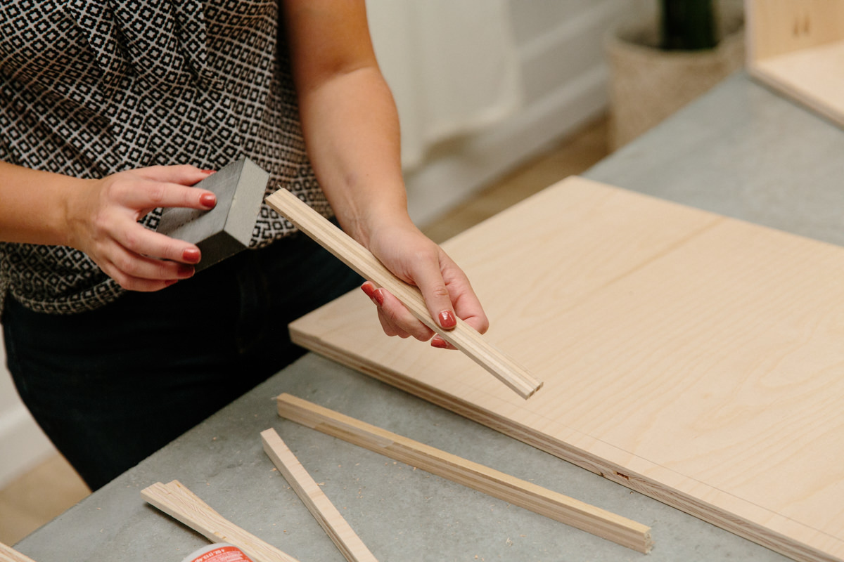 sanding leftover plywood