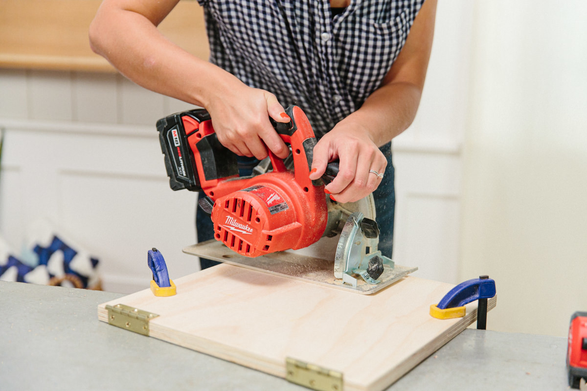 using saw and clamps