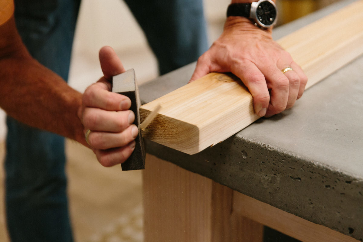 sanding wood for ouitdoor cooking station