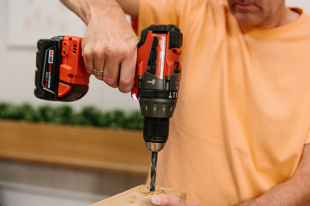 Drilling hole in wood for wheels