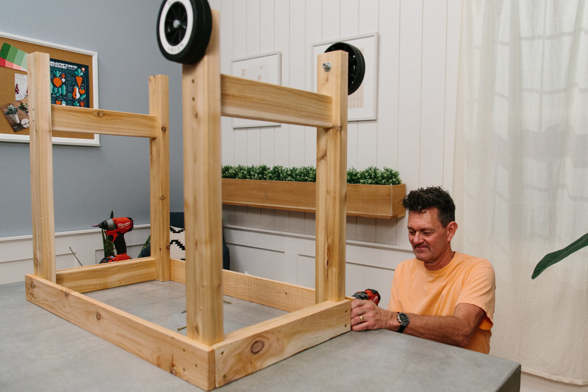 framing the outdoor grilling station