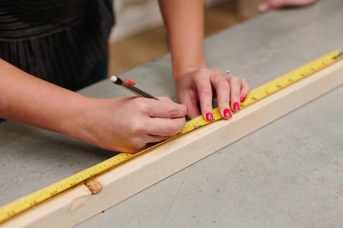 measuring wood for diy cooler stand