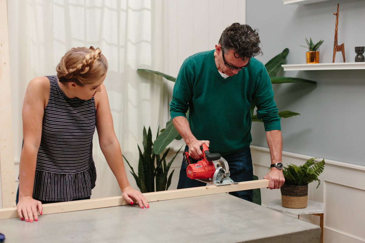 Sawing wood for base frame of DIY Cooler Stand