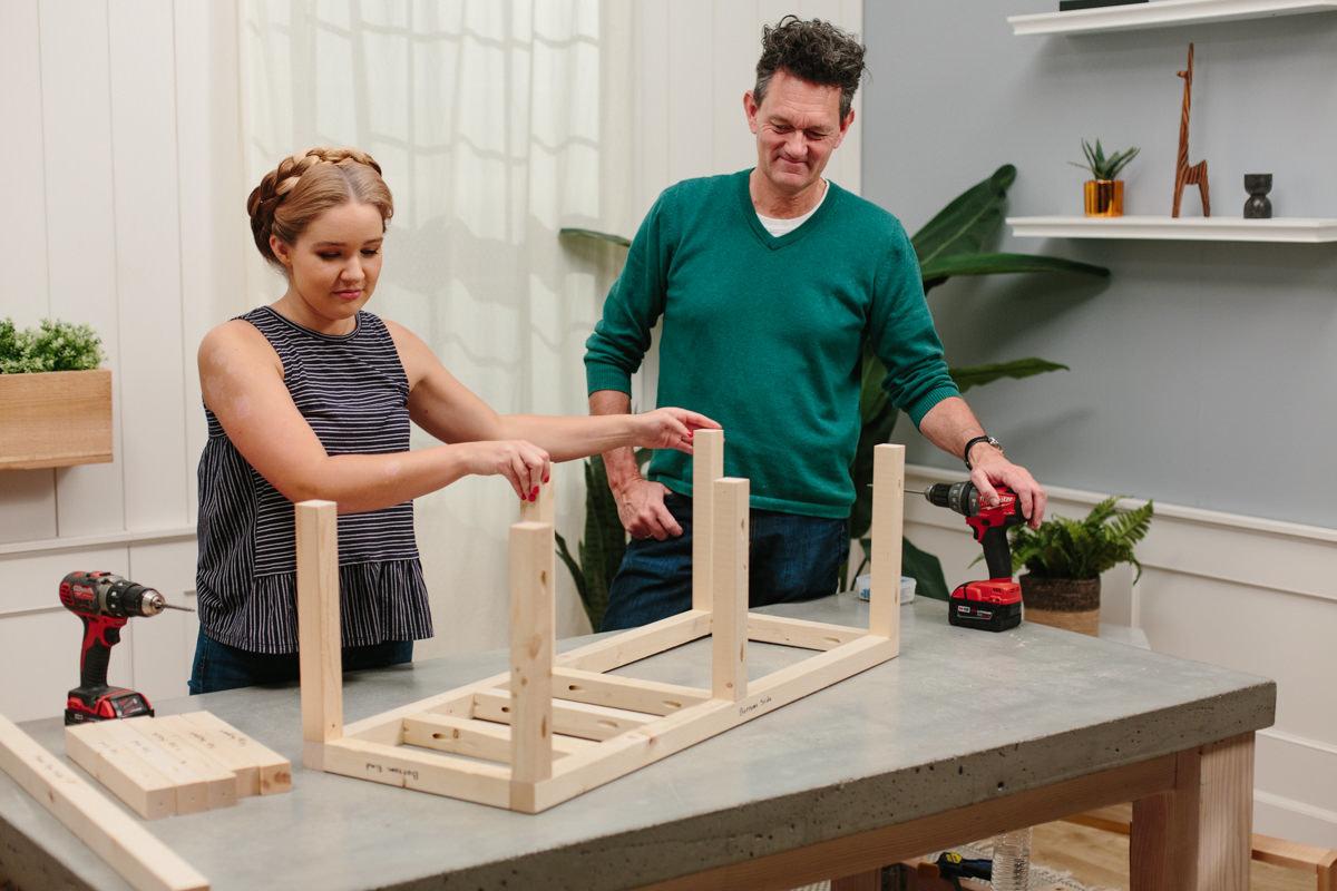 Assembling bottom frame to Patio cooler cart
