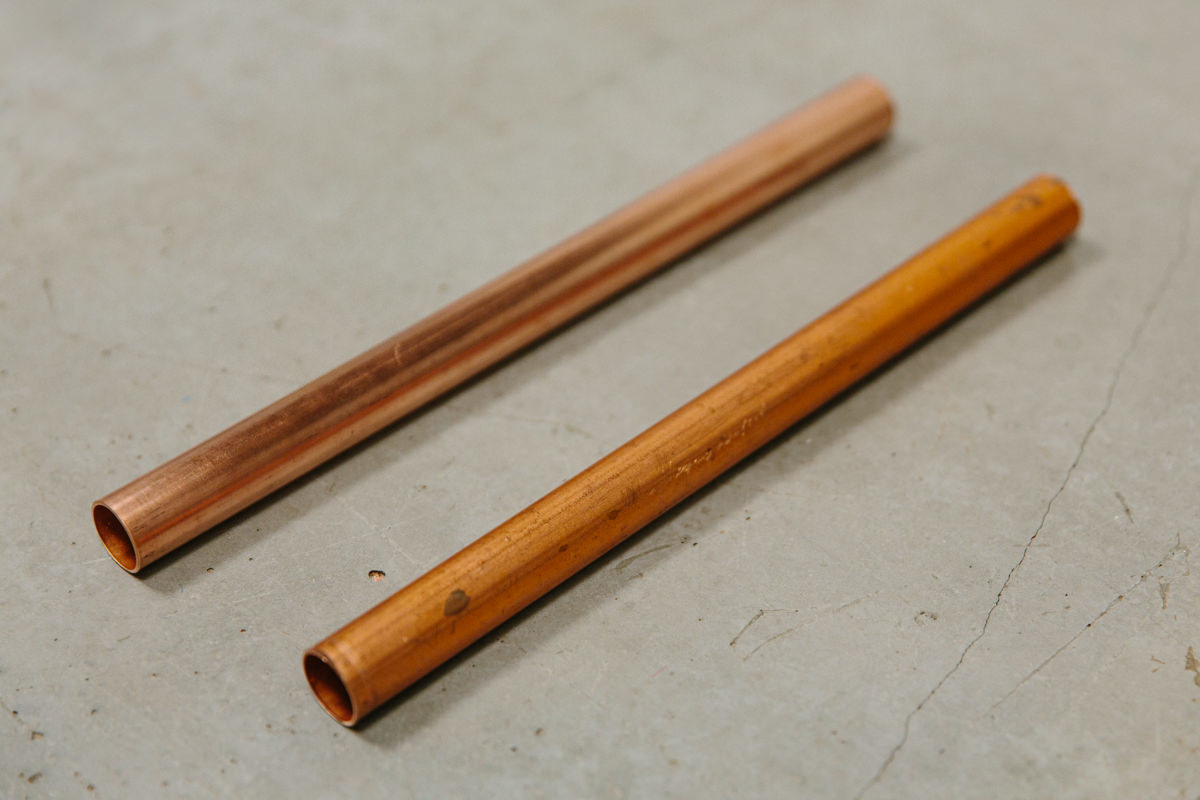 two copper pipes