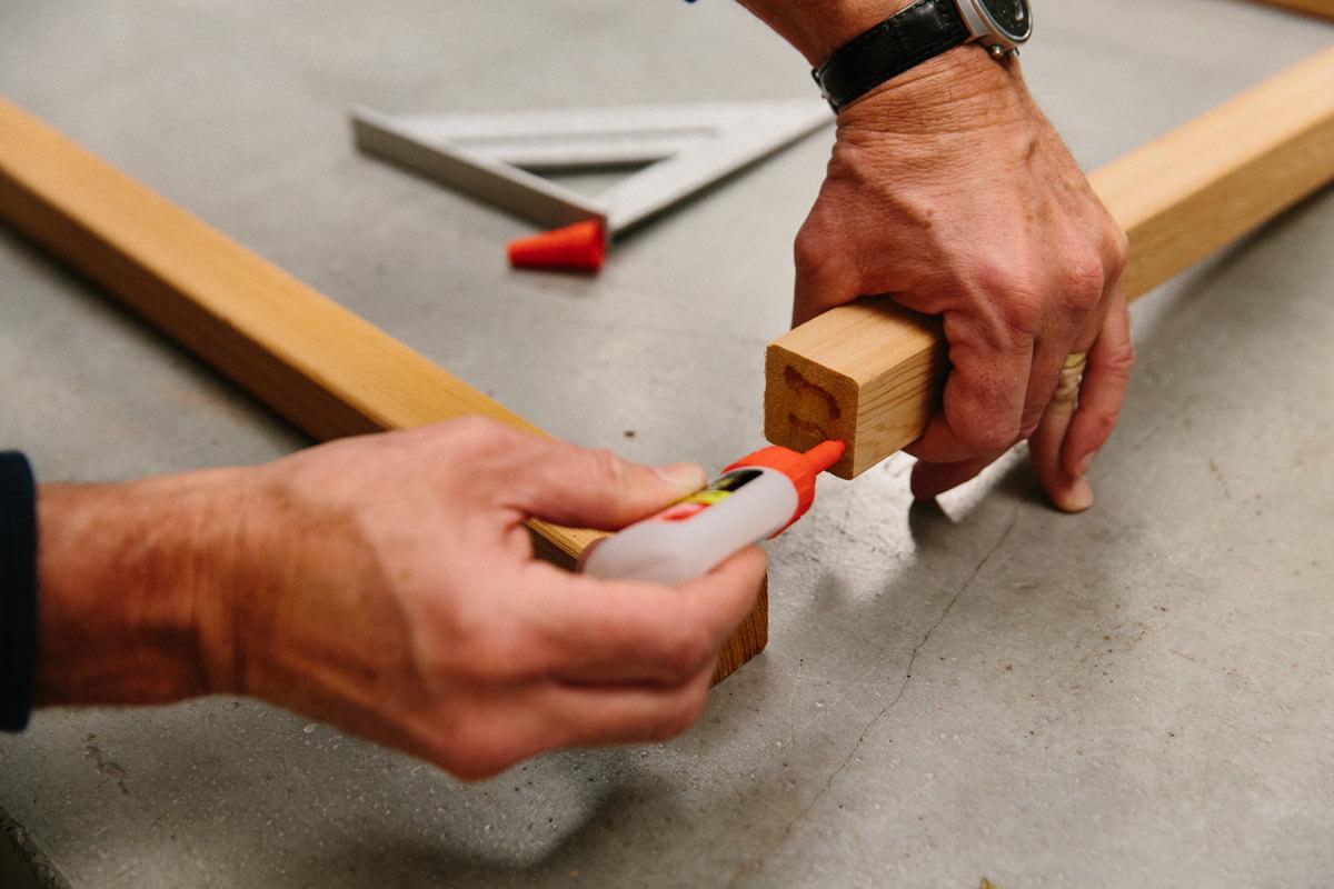 glue the back frame together