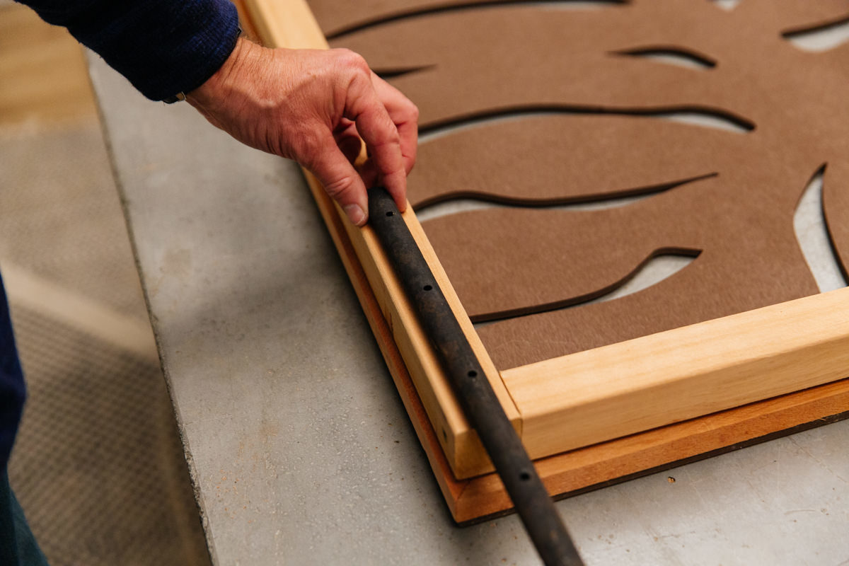 add stakes to hold up the decorative panels