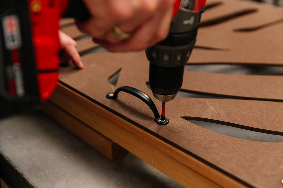 drill the screws in the spots marked
