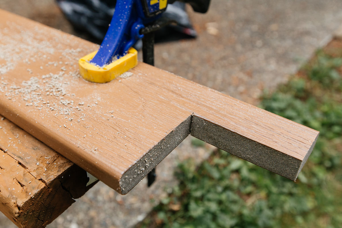 cutting composite deck board