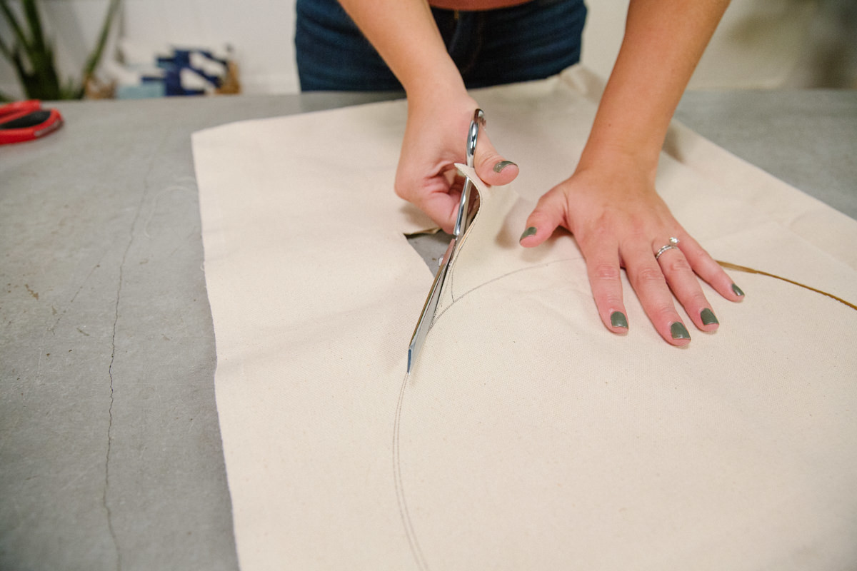 cutting canvas fabric