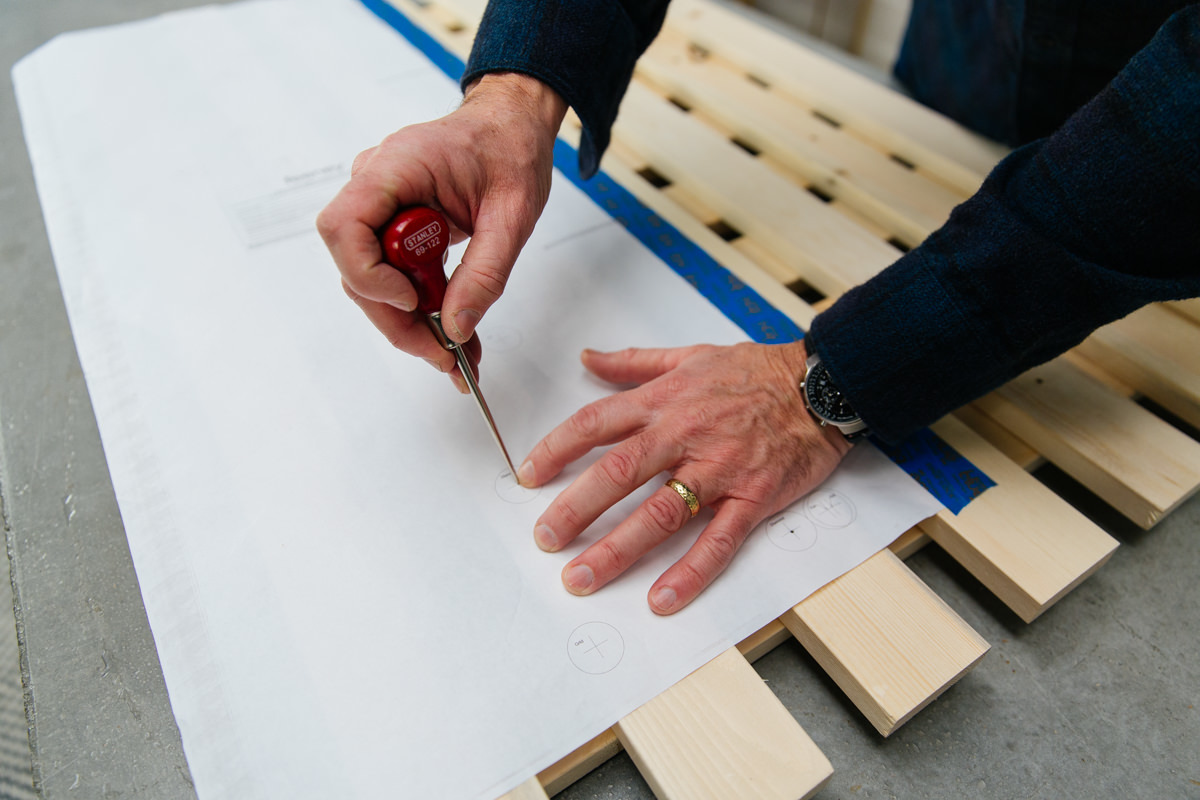 use an awl to mark the mounting point