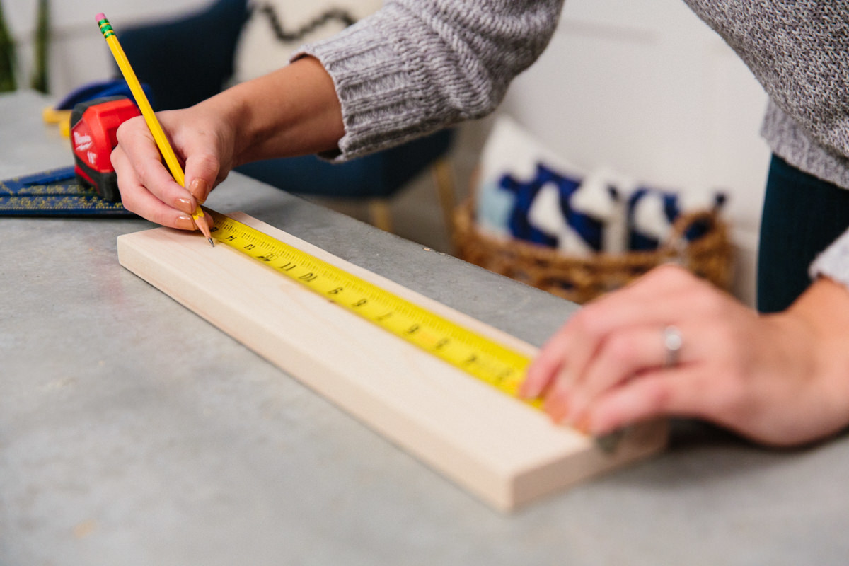 measure and mark holes on wood
