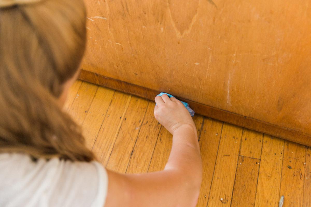 wipe down the door to remove loose dirt