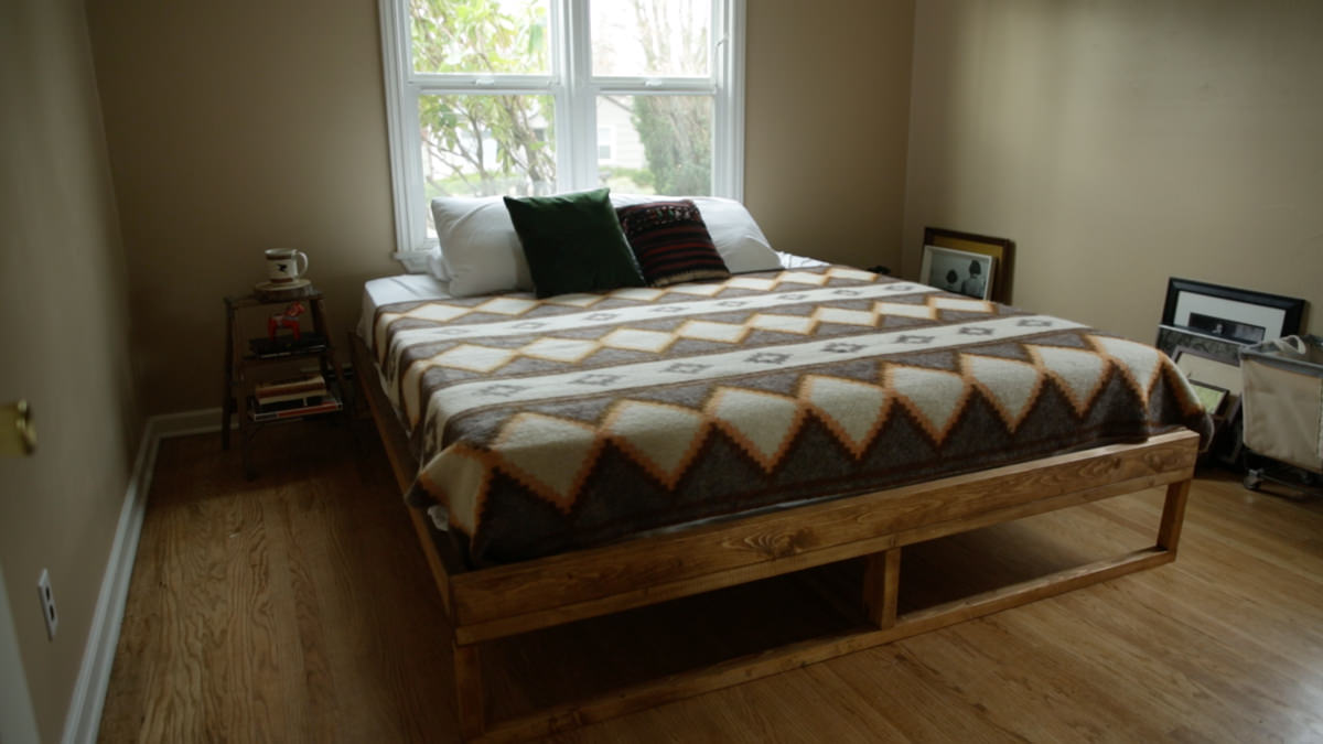 diy mid century bed frame