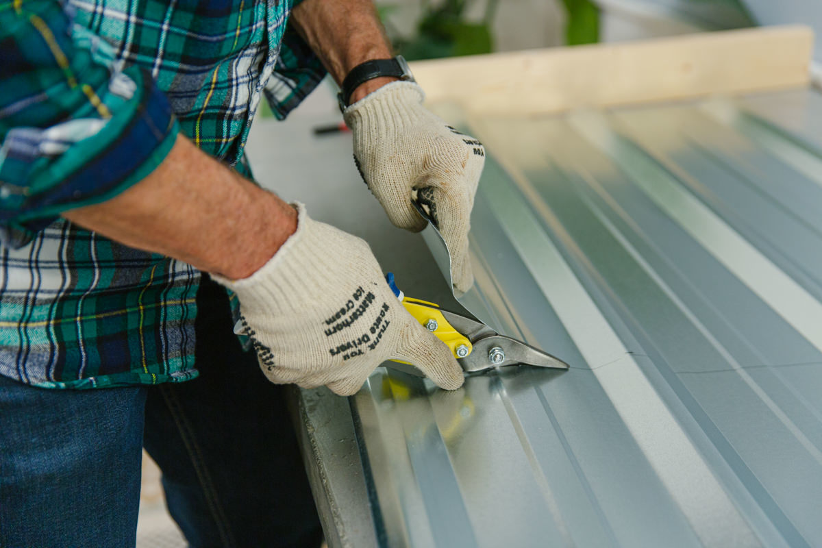 use gloves when working with metal roofing