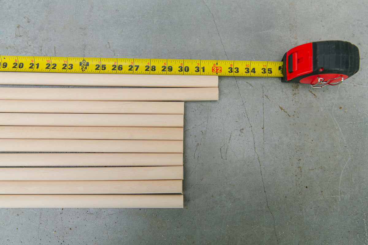 cut dowels for the laundry rack
