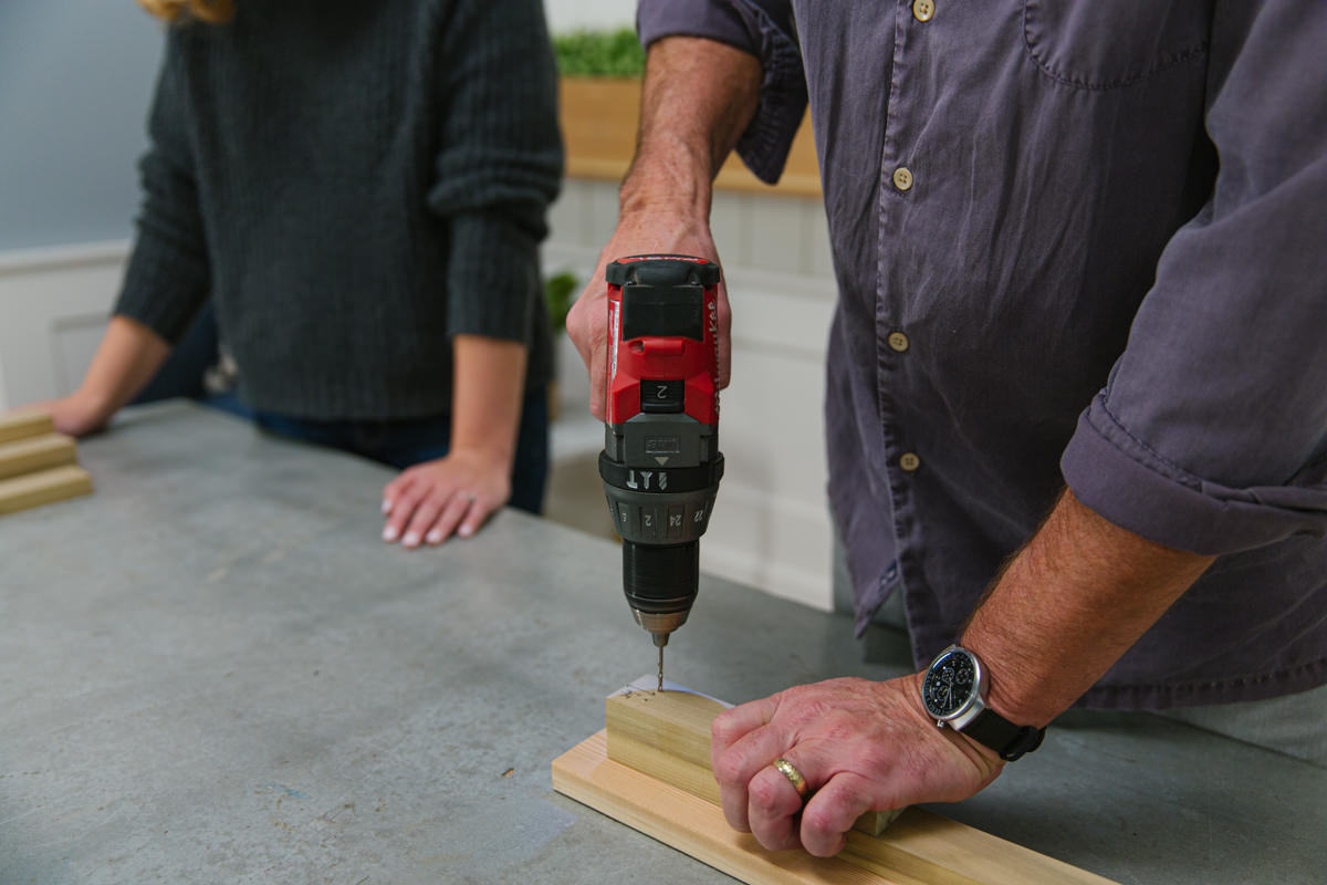 predrill holes to minimize the chance of the wood splitting